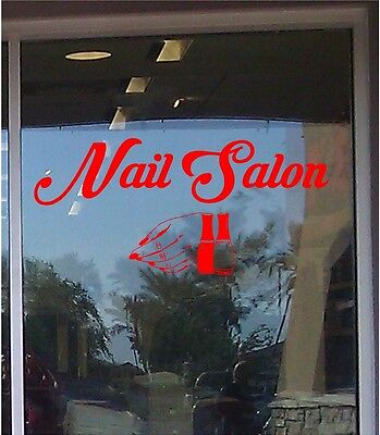 Nail Salon Business Sign Vinyl Sticker Sign Window 14x30