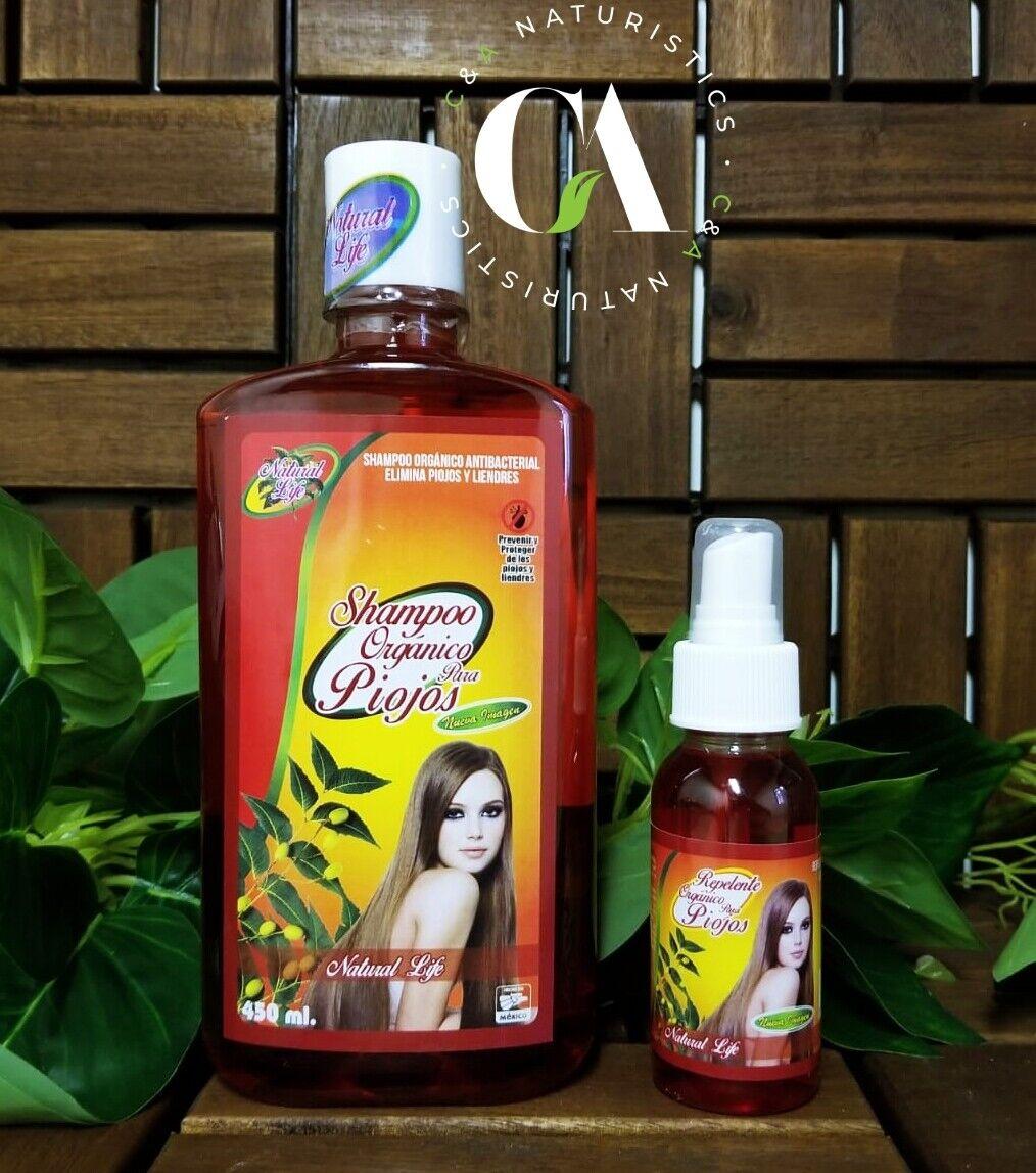 Shampoo & Repelente Orgánicos para Eliminar  y Prevenir Piojos & Liendres 2 Pack
