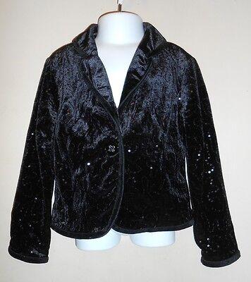 The Childrens Place Girls Velvet & Sequin Lined Dressy Jacket Black S/5-6 NWT