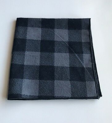 Black and Grey Checkered Flannel Pocket Square with Black Trim