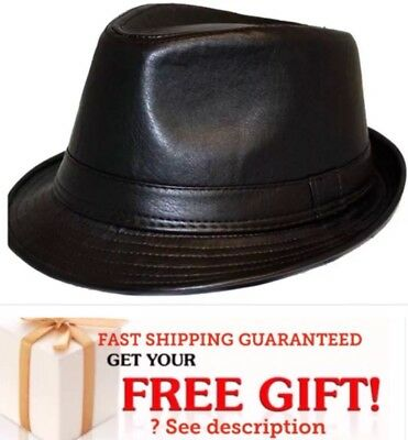 NEW Men Black  PUNK FAUX Leather Cuban Fedora Trilby Gangster Cap Hat CHRISTMAS - Christmas Fedora