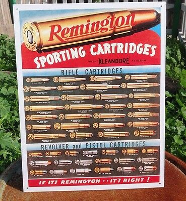 Remington Sporting Cartridges Tin Metal Sign Rifle Pistol Revolver Hunting Hunt