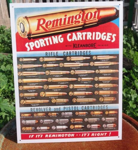 Remington Sporting Cartridges Gun Rifle Shells Classic Tin Metal Sign Garage