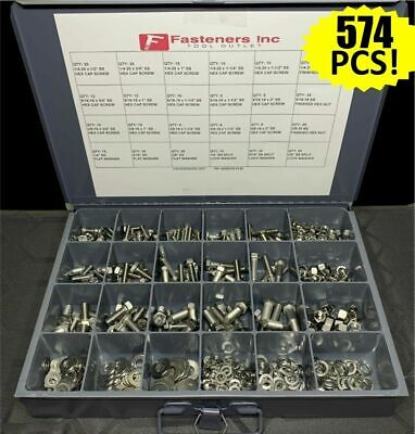 574 Pcs 18-8 Stainless Steel Hex Cap Screw Bolt Nut Washer 304 Assortment Kit
