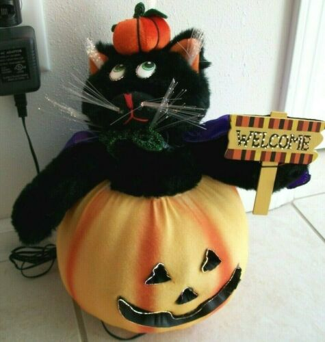 Fiber Optic Black Cat in Pumpkin Jack-O-Lantern Halloween Decor w/Box VGC