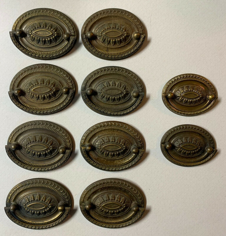 Vintage Lot of 10 -Drawer Pulls w/ Back Plates Oval Ornate Federal Style Patina