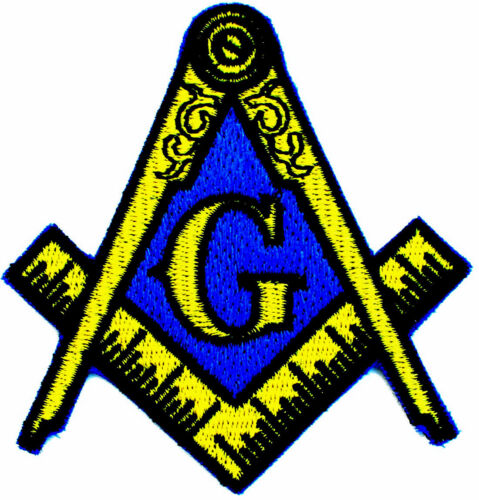 """Masonic Square & Compasses Iron On Embroidered Patch Badge 3"""""""