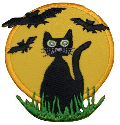 Black Cat with Bats and Full Moon Halloween Applique Patch (Iron on) - Iron On Halloween Appliques