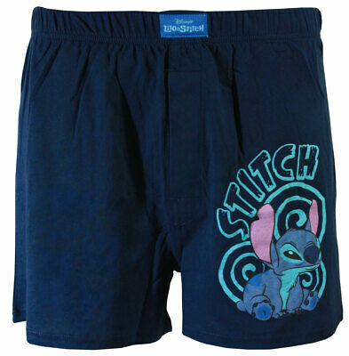 Disney Lilo & Stitch Beware I Bite Men's Boxer Shorts, Navy