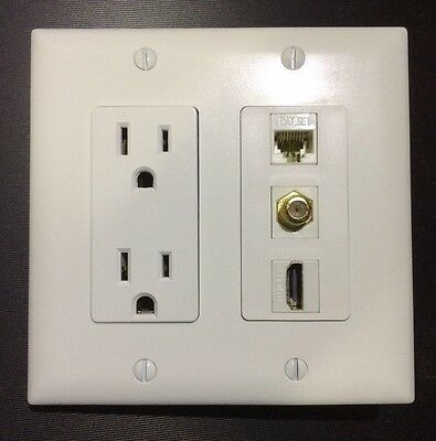 2 Gang White HDTV Plate W/Outlet 15A 125V 1x HDMI 1x Coax 1x Ethernet Cat6/Cat5