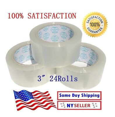 24 Rolls Carton Sealing Clear Box Packing Shipping Tape 3 Inch x 110 Yards