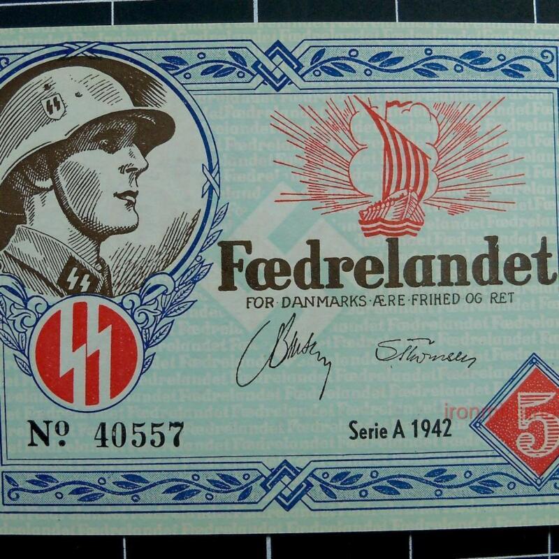 Denmark WW2 DNSAP banknote-series 1942-UNC-Xrare-Danish Nazi Legion-Free Corps
