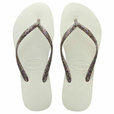 NWT Havaianas Slim Brazil Womens Flip Flops White/Silver Sparkle Free Shipping