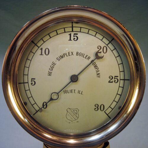"""Vtg BRASS Boiler Gauge 8"""" Steam Pressure POLISHED Heggie Simplex Decor Steampunk"""