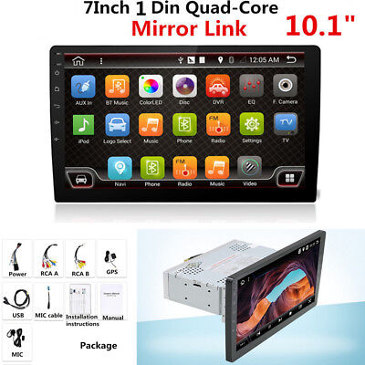 101 1 Din 1080P Touch Screen Car Stereo Radio GPS Wifi Mirror Link OBD Android