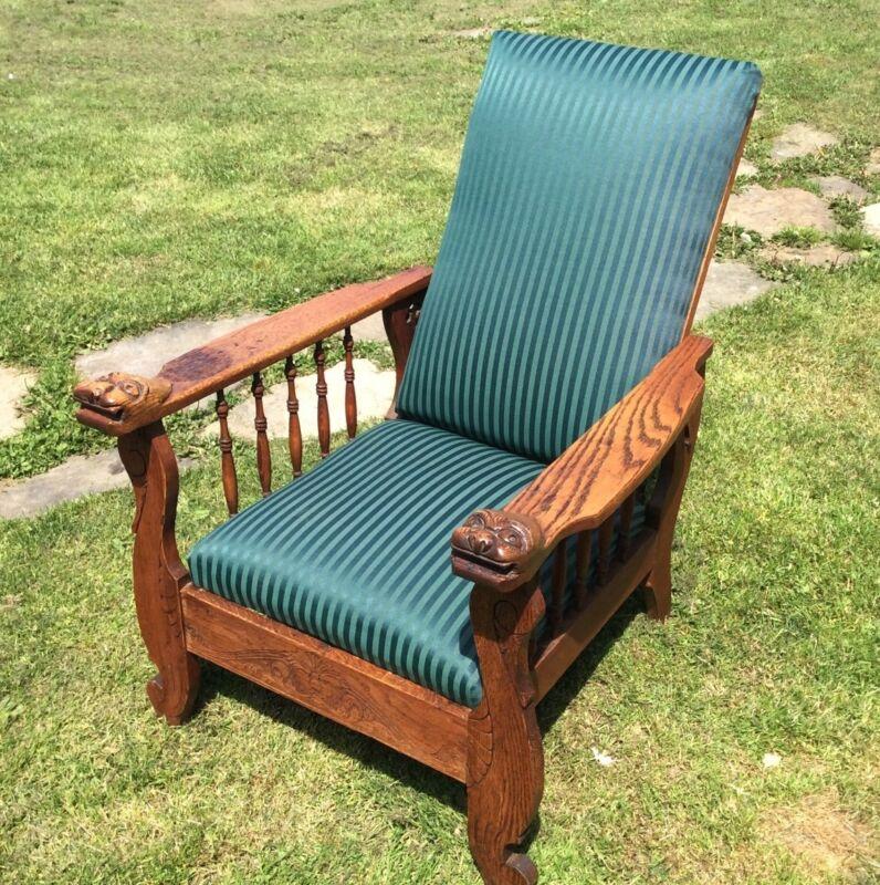 Antique Vintage Snake Demon Head Stunning Morris Chair With Engravings