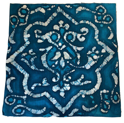 Hand Made Decorative Batik Islamic Tile Textile Hanging Design Blue White