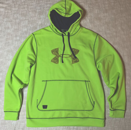 Under Armour Loose Dipping Hoodie Sz L Big UA Logo Lime Gree