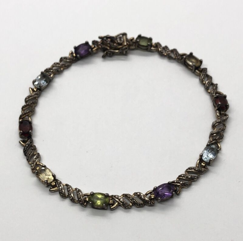 "PAJ Sterling Silver Bracelet 925 7.25"" Signed Amethyst Topaz Peridot Garnet"