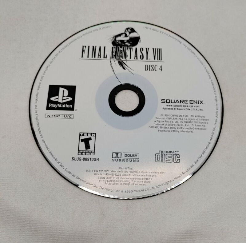 Final Fantasy VIII 8 DISC 4 ONLY ! - PS1 Game Disc Tested Clean Square Enix