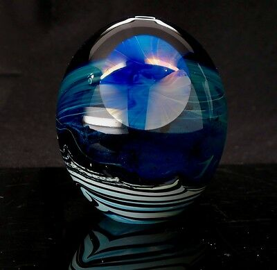 John Lewis Moonscape Vase Paperweight Art Glass '71