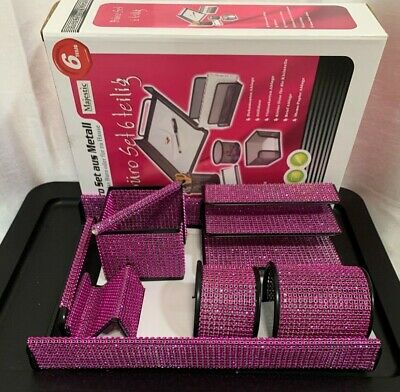 7 Piece Majestic Home Or Office Desk Set Organizer Pink Mesh Bling Gift Closeout