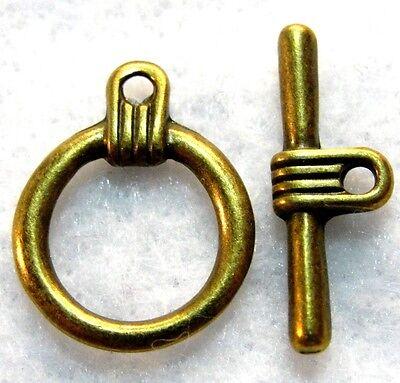 50Pcs. WHOLESALE Tibetan Antique Bronze ROUND Toggle Clasps Hook Connector Q0770