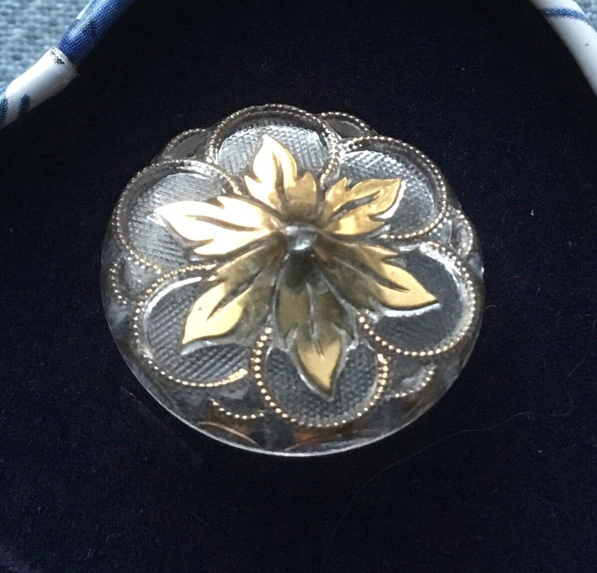 Vintage Clear W/ Gold Glass Flower Button - 7/8  - $4.99