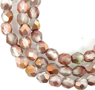 50 Firepolish Czech Glass Faceted Round Beads   Matte   Apollo Gold 4Mm