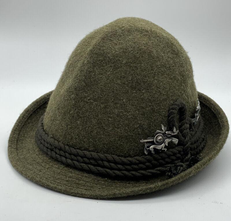 Authentic Vintage Oktoberfest German Hunting Wool Felt Hat W/Hunting Pin