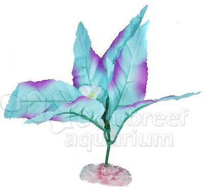 Flowering Broad Leaf Silk Style Cloth Aquarium Plant ColorBurst Blue Mini 4""