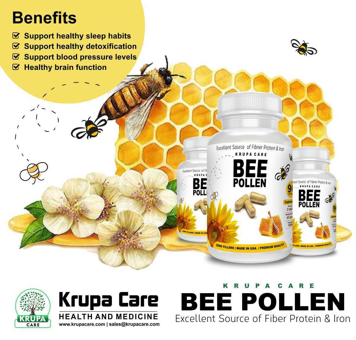 Krupacare Bee Pollen capsual500mg,Weight Loss,B-complex,Vit A,C,E.Made in USA 90 2