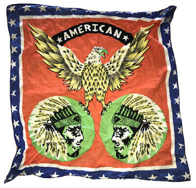 Vtg American Bandana Native Indian Head Motorcycle Scarf Handkerchief Eagle Star