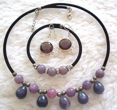 Choker Bracelet Pierced Earrings Set Purple Beads Black Silver Unique Gift