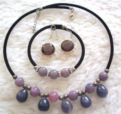 Beaded Bracelet Pierced Earrings Choker Set Purple Black Velvet Silver Beads New
