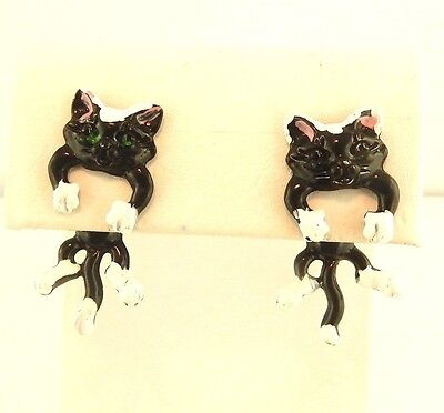 EARlusion 3D Black & White Kitty Cat Kitten earrings