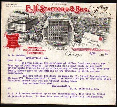 1902 Chicago - E H Stafford & Brother - Office & Library Furniture Letter Head