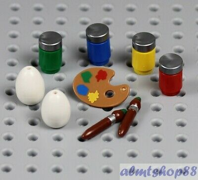 Lego Easter Eggs (LEGO - Easter Eggs w/ Paint Jar Pallet & Brush - Food Kitchen Minifigure)