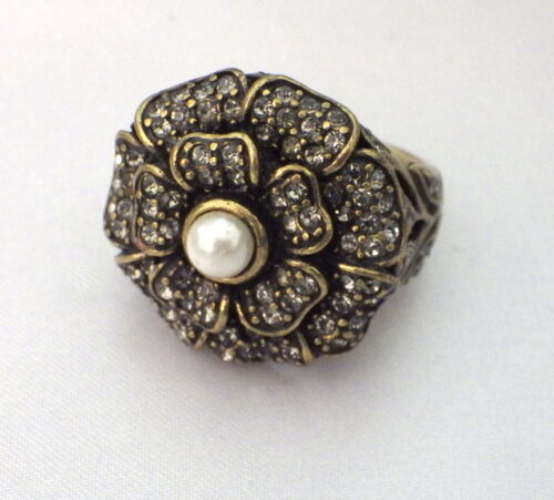 Heidi Daus pearl flower ring rhinestones pave crystals size 8 antique gold tone