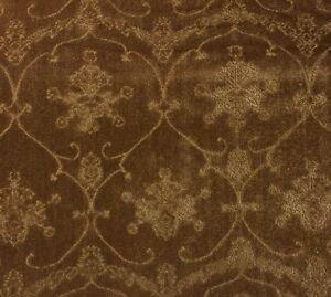 SCALAMANDRE PENNSBURY CARAMEL BROWN LINEN VELVET UPHOLSTERY FABRIC BY THE YARD