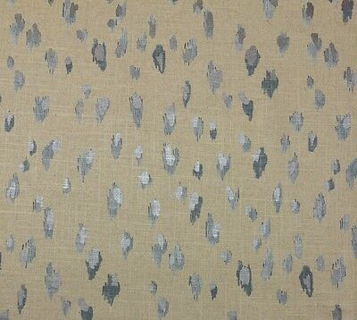 BALLARD DESIGNS CLEO GLACIER BLUE METALLIC SHIMMER LINEN  FABRIC BY YARD 56