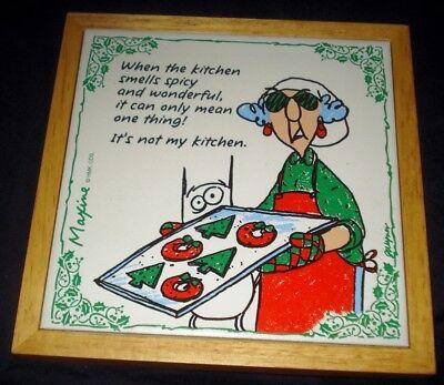 "Hallmark MAXINE ""It's not my kitchen"" Ceramic Kitchen Tile Trivet Wood Frame"