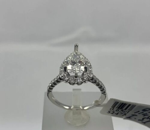 GIA Certified 18k White Gold Ladies Engagement Ring 1.36 Ct Brilliant Pear Shape 2
