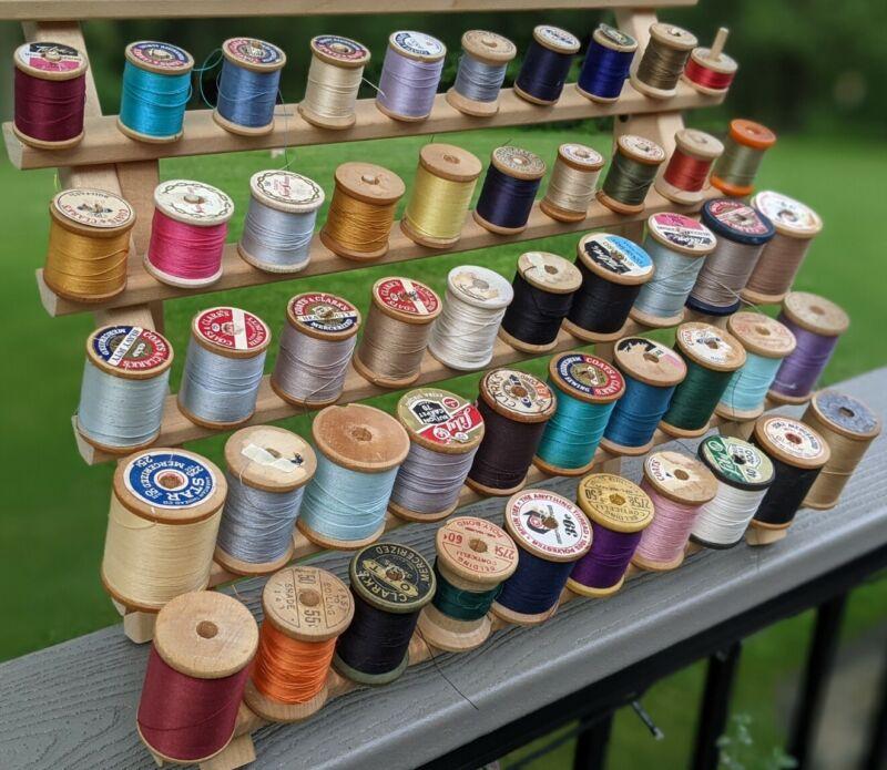 50 Vintage Wooden Thread  Spools Full Partials Crafts Multi Brands/Colors