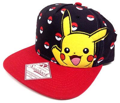 BLACK RED POKEMON PIKACHU POKEBALL SNAPBACK HAT CAP ADJUSTABLE LOGO NINTENDO - Pokemon Hat