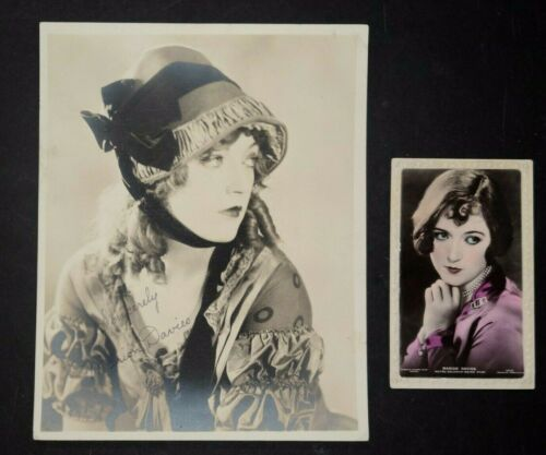 MARION DAVIS 1920S DOUBLEWEIGHT GLAMOUR PORTRAIT & COLOR POSTCARD