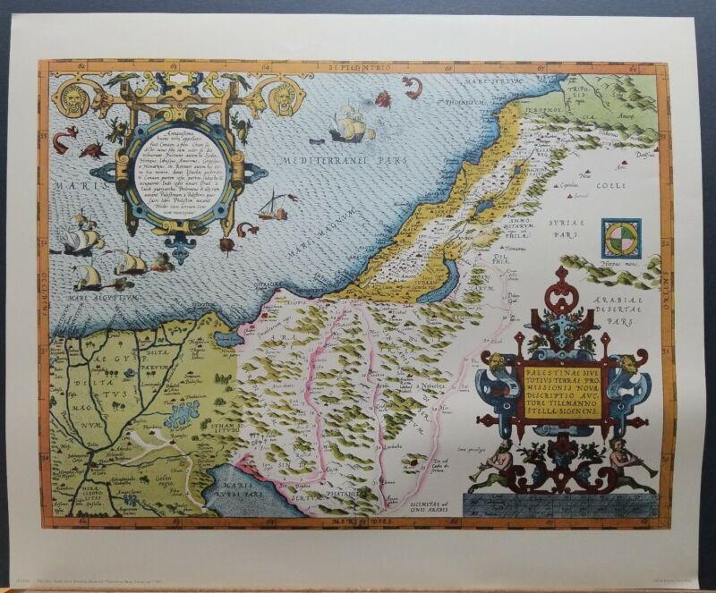 Vintage Map of The Holy Land Israel Palestine 1570 Abraham Ortelius Penn Prints