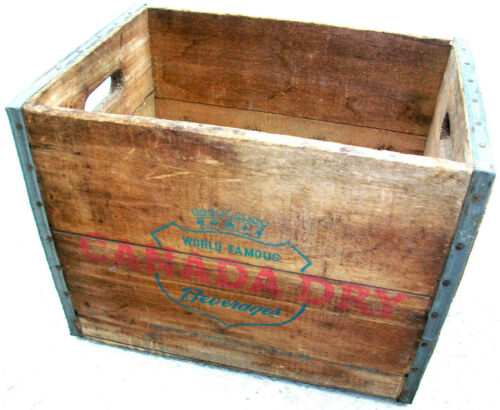 CANADA DRY GINGER ALE WOODEN CRATE 12-BOTTLE WOOD BOX VINTAGE 1953 SODA BEVERAGE
