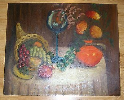 VINTAGE GRAPES RED ONION COBALT BLUE WINE GLASS FRUIT STILL LIFE FLOWER PAINTING