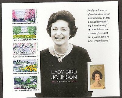 2012 #4716 Imperf Lady Bird Johnson Pane of 6 Without Die Cuts MNH